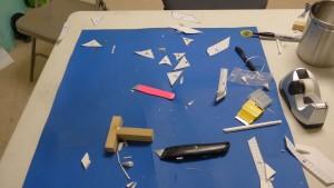 Cutting workstation with stencil debris field